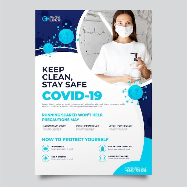 Informatief coronavirus-flyer-thema Gratis Vector