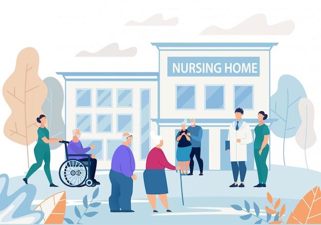 Informatief flyer verpleeghuis bouwen flat. Premium Vector