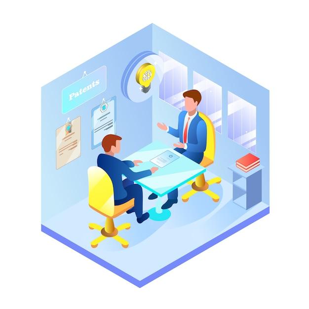 Informatief flyerbezoek aan patent office flat. Premium Vector