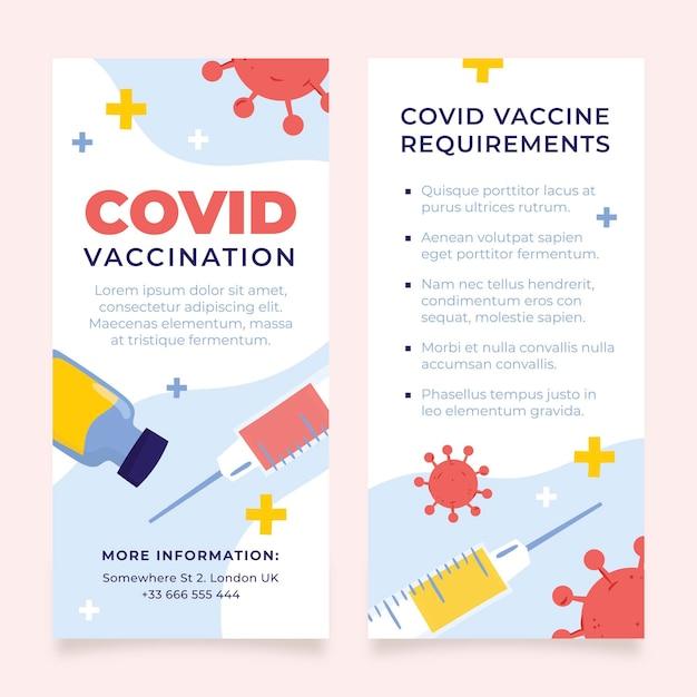 Informatieve brochure over vaccinatie tegen het coronavirus in plat ontwerp Gratis Vector