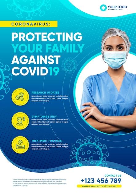 Informatieve coronavirus flyer-arts die beschermingsmasker draagt Gratis Vector