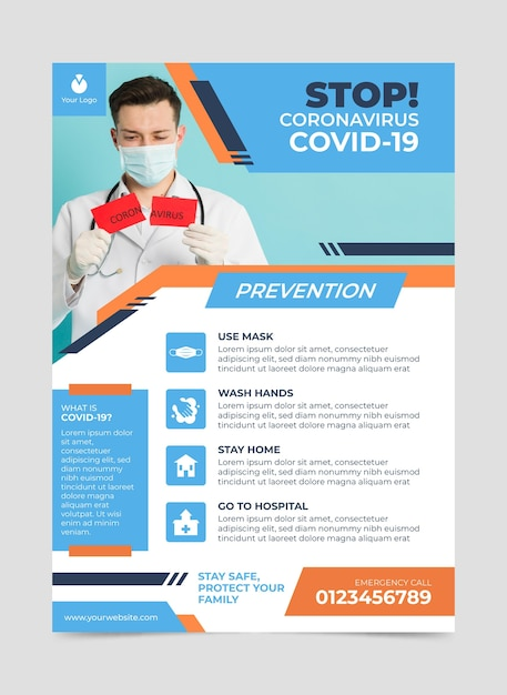 Informatieve coronavirus-flyer Gratis Vector