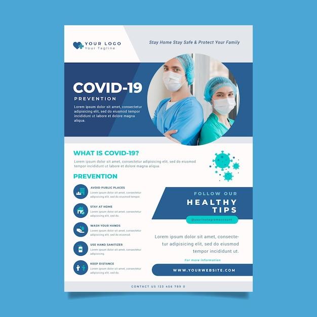 Informatieve coronavirus-flyer Premium Vector