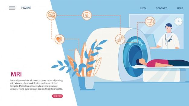 Informatieve flyer inscriptie mri, cartoon Premium Vector