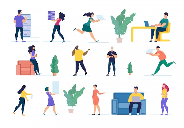 Informatieve flyer people at work cartoon instellen. Premium Vector
