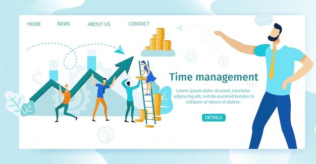 Informatieve poster time management belettering. Premium Vector