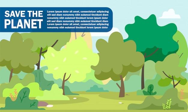 Informatieve posterinscriptie save the planet. Premium Vector