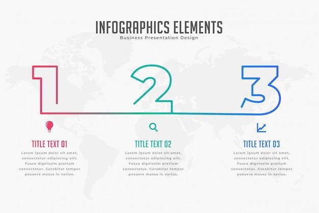 Infpgraphic tijdlijnsjabloon in drie stappen Gratis Vector