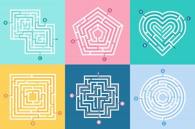 Ingang doolhof, juiste weg vinden, spel voor kinderen labyrint en keuze doolhoven ingangen letters ingesteld Premium Vector