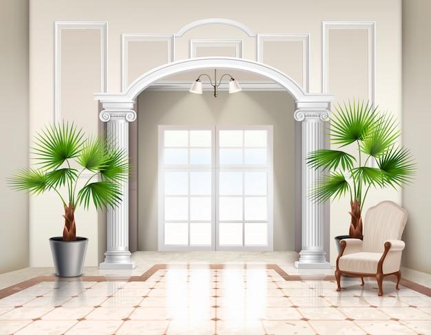 Ingemaakte waaierpalmbomen als decoratieve kamerplanten in klassiek ruim vestibule-interieur realistisch Gratis Vector