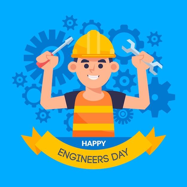 Ingenieur dag viering ontwerp Gratis Vector