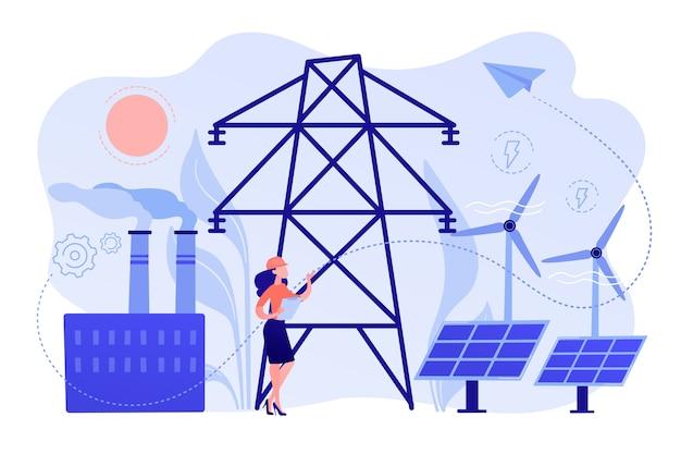 Ingenieur kiezen van krachtcentrale met zonnepanelen en windturbines Gratis Vector