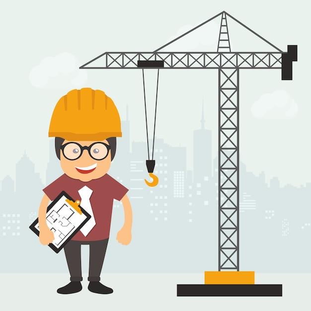 Ingenieur op de bouwplaats Gratis Vector