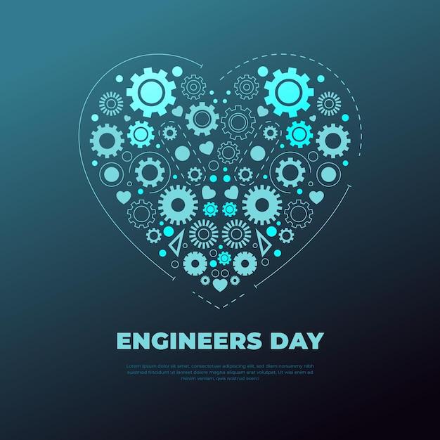 Ingenieursdag met hart en versnellingen Gratis Vector
