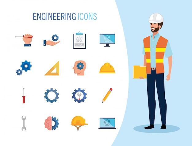 Ingenieursmens met het vastgestelde pictogrammen werken Gratis Vector