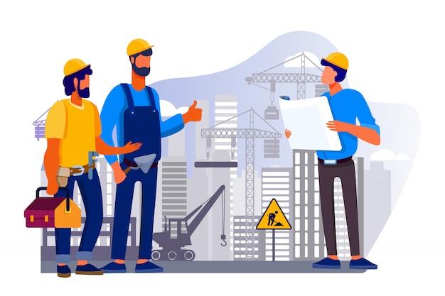 Ingenieursteam die kwesties bespreken bij bouwwerf Gratis Vector