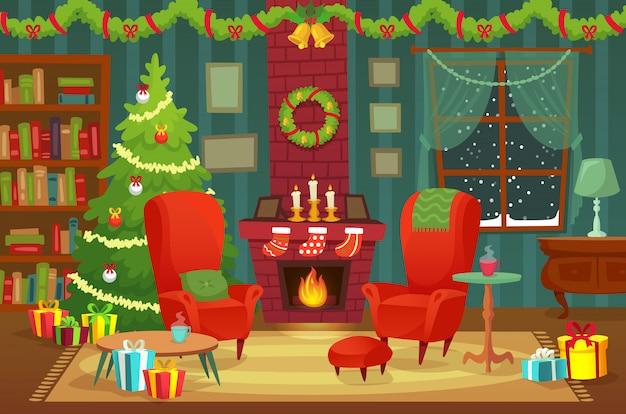 Ingerichte kerstkamer. winter vakantie interieur met fauteuil in de buurt van open haard en kerstboom concept Premium Vector