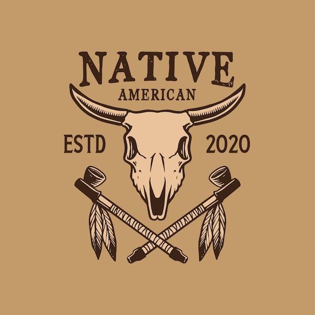 Inheems amerikaans embleemontwerp Premium Vector