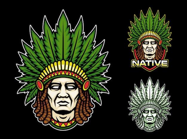 Inheemse indiaan met dreadlock mascotte logo Premium Vector