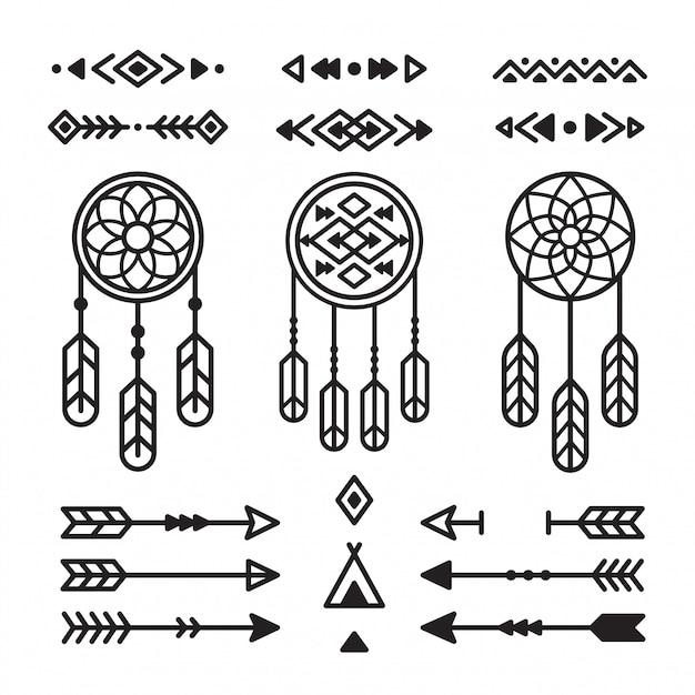 Inheemse indiaanse ontwerpelementen instellen. dromenvangers, pijlen, tribale ornamenten. Premium Vector