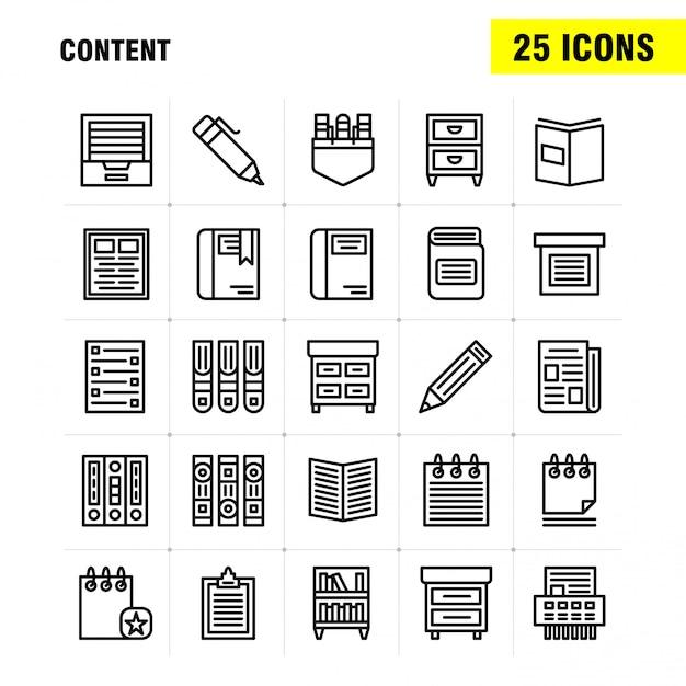 Inhoudslijn icon pack: boek, bladwijzer, inhoud, inhoud, pennen, zak, inhoud Premium Vector
