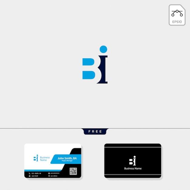 Initial bi-logosjabloon, vrij uw visitekaartjeontwerp Premium Vector