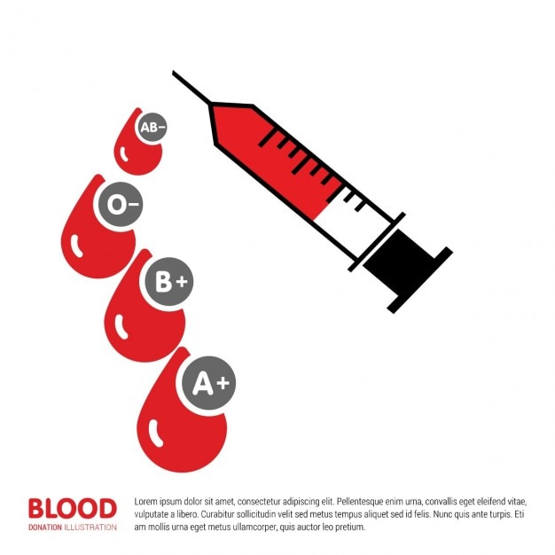 Injectiespuit met bloed druppel Gratis Vector