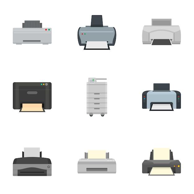Inkjet printer icon set. platte set van 9 inkjetprinterpictogrammen Premium Vector
