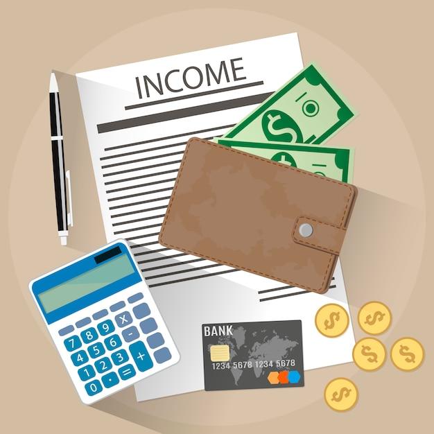 Inkomen illustratie Premium Vector