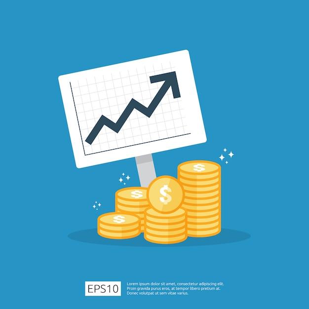 Inkomen salaris dollar koersstijging statistiek. omzetgroei bedrijfsmarge. financiële prestaties van roi-investeringsrendementconcept met pijl. kosten verkoop pictogram vlakke stijl Premium Vector