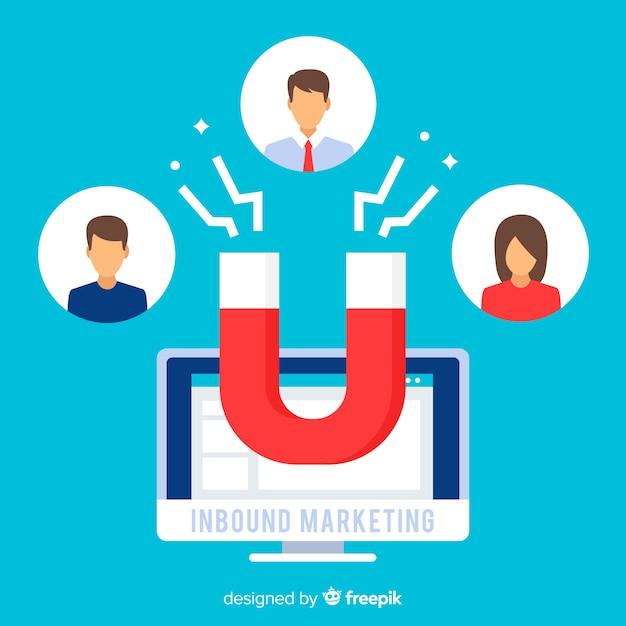 Inkomende marketing achtergrond Gratis Vector