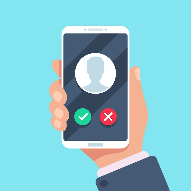Inkomende oproep op het scherm van de mobiele telefoon, platte concept Premium Vector