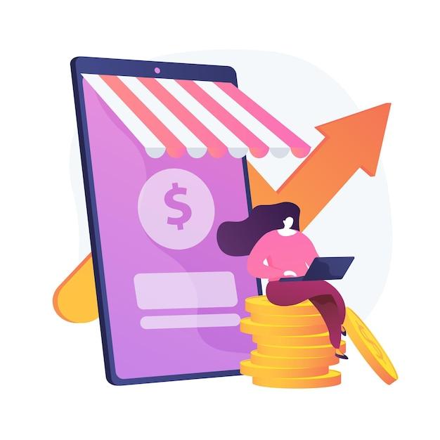 Inkomensgroei. freelancer zittend op munten en werken met laptop stripfiguur. geld verdienen, virtuele verkoop, marketingstrategie. vector geïsoleerde concept metafoor illustratie Gratis Vector