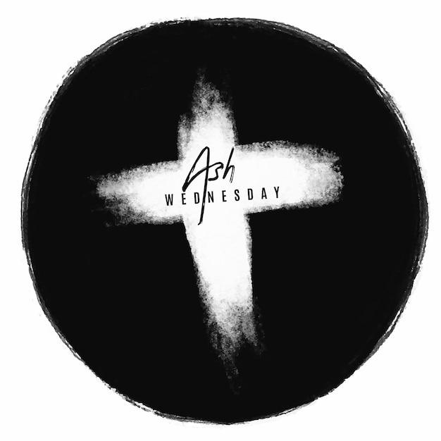 Inkt aswoensdag kruis Gratis Vector