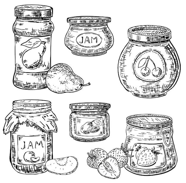 Inkt hand getrokken stijl fruit jam pot pictogramserie Premium Vector
