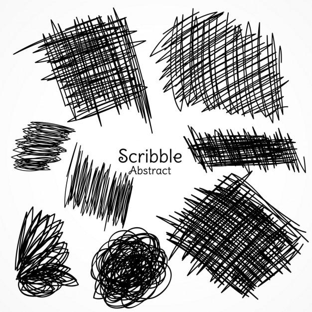 Inkt lijnen van de pen in kattebelletje stijl hand getekende set collectie Gratis Vector