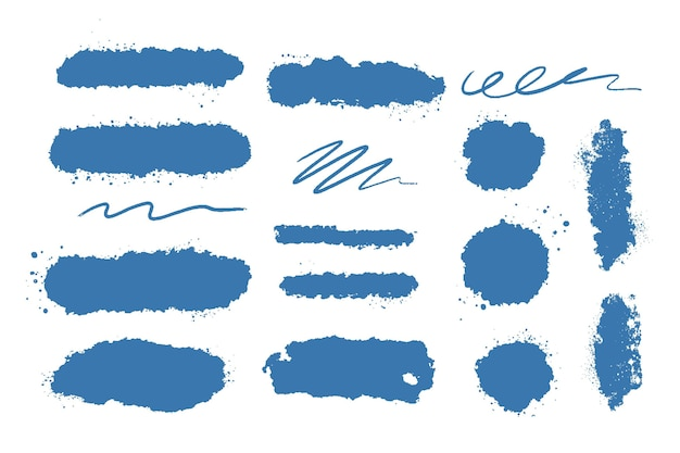 Inkt penseelstreek collectie Gratis Vector