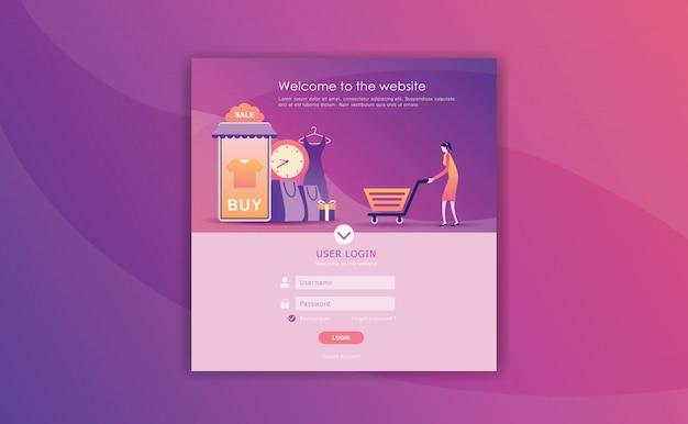 Inloggen paginaontwerp Premium Vector