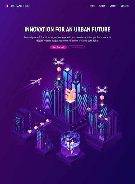 Innovatie voor stedelijke toekomstige isometrische bestemmingspagina Gratis Vector