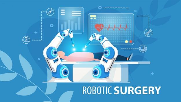 Innovatieve medische platte affiche voor robotchirurgie Premium Vector