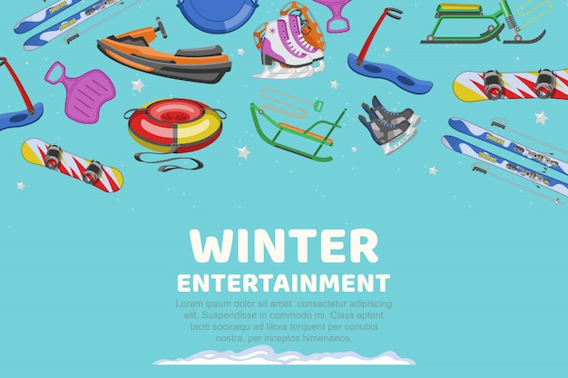 Inscriptie winter entertainment, collectie items voor sport en entertainment ,, cartoon illustratie. Premium Vector