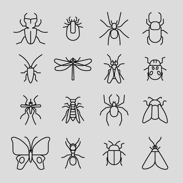 Insect dunne lijn pictogrammen instellen Premium Vector