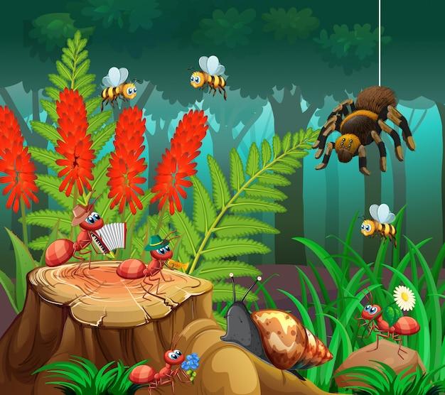 Insect op de natuur achtergrond Gratis Vector
