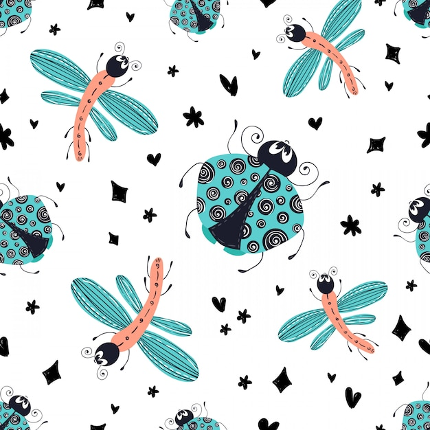 Insect patroon Premium Vector