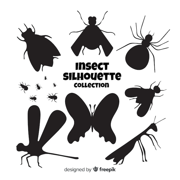 Insect silhouet collectie Gratis Vector