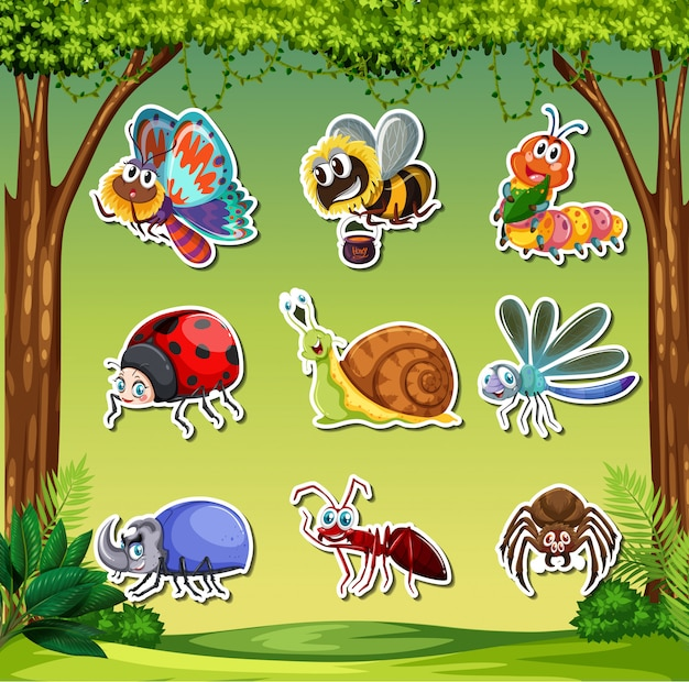 Insect sticker set Premium Vector