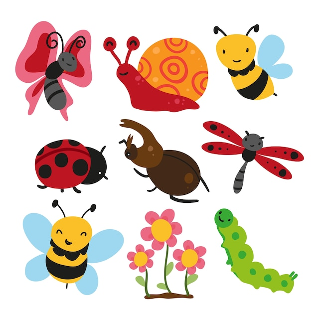 insecten collectie, insect vector design Gratis Vector