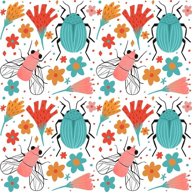 Insecten en bloemen patroon collectie thema Gratis Vector