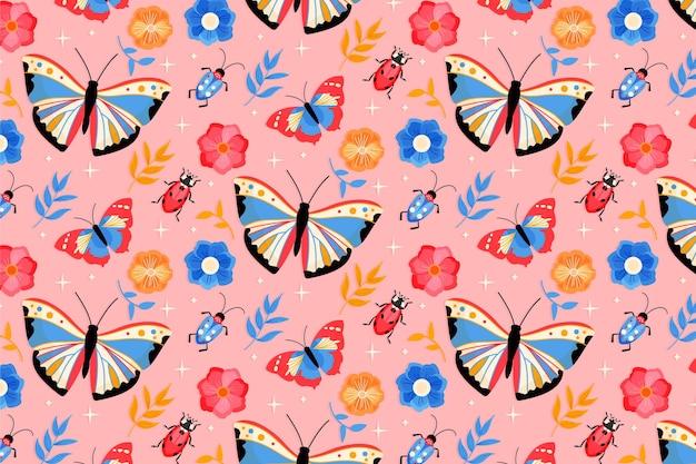 Insecten en bloemenpatroon Gratis Vector