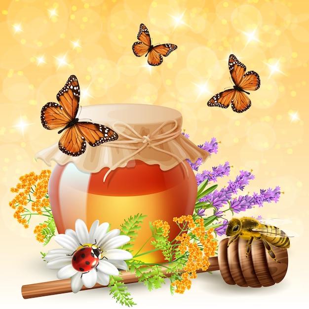 Insecten met honing realistisch Gratis Vector